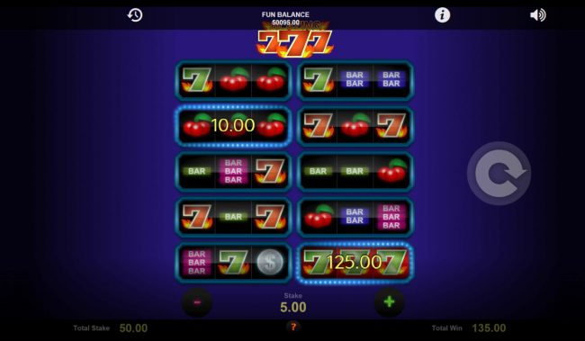 Cosmik featuring the Video Slots Blazing Sevens with a maximum payout of $21,000