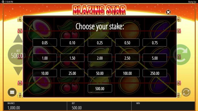 888 Casino featuring the Video Slots Blazing Star with a maximum payout of $250,000