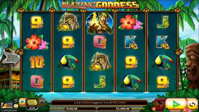 Blazing Goddess :: Main game board featuring five reels and 1024 winning combinations with a $4,000 max payout