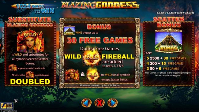 Queen Vegas featuring the Video Slots Blazing Goddess with a maximum payout of $4,000