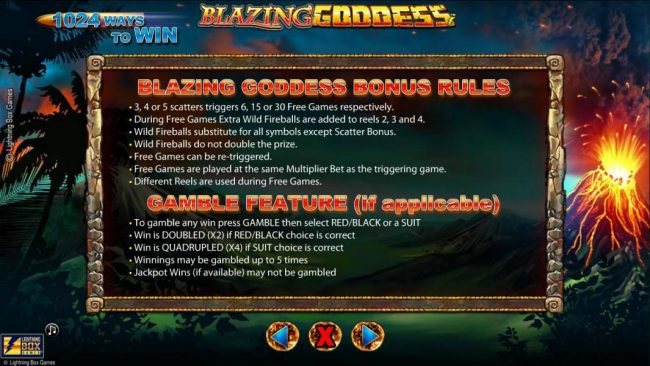 Blazing Goddess :: Blazing Goddess Bonus Rules and Gamble Feature Rules