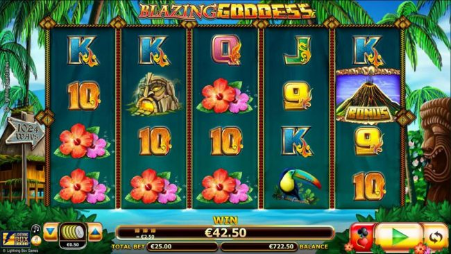 Money Reels featuring the Video Slots Blazing Goddess with a maximum payout of $4,000