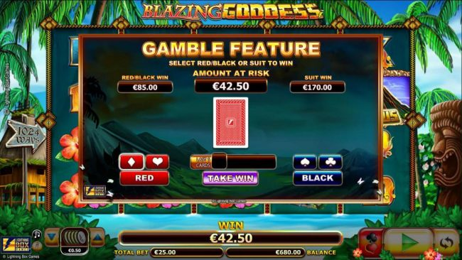 Blazing Goddess :: Gamble feature is available after any winning spin. Select red/black or suit to win.