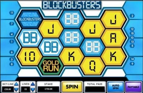 Blockbusters :: main game board featuring five reels and 15 paylines