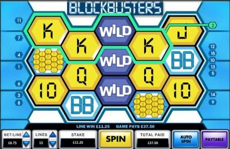Blockbusters :: stacked wild triggers multiple winning paylines for a 37.50 jackpot