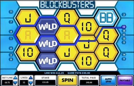 Blockbusters :: Here is another example of an expanding wild triggering a 45 coin big win
