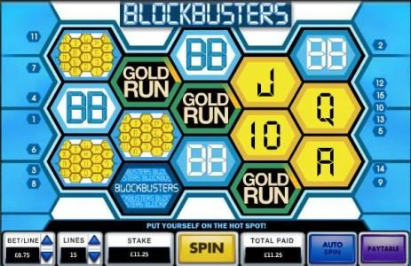 Blockbusters :: gold run bonus feature triggered