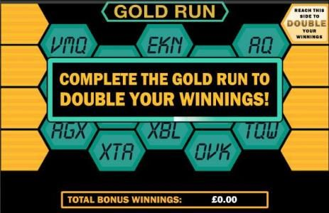 Blockbusters :: gold run bonus game board - complete the gold run to double your winnings