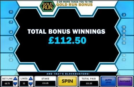 Blockbusters :: total bonus winnings 112.50 coins