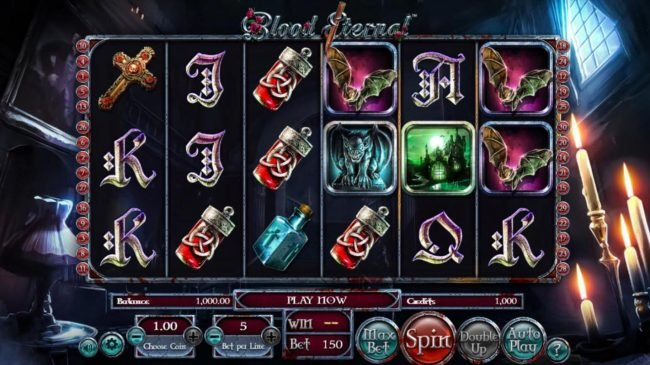 Blood Eternal :: Main game board featuring five reels and 30 paylines with a $965,620 max payout.