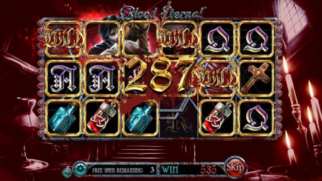 Blood Eternal :: A 287 coin jackpot triggered during the free spins feature