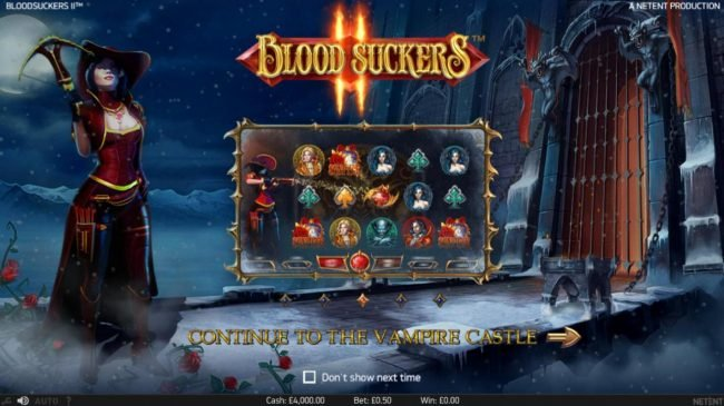 Play slots at Gala: Gala featuring the Video Slots Blood Suckers II with a maximum payout of $100,000