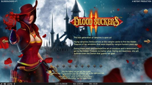 Free Spins featuring the Video Slots Blood Suckers II with a maximum payout of $100,000