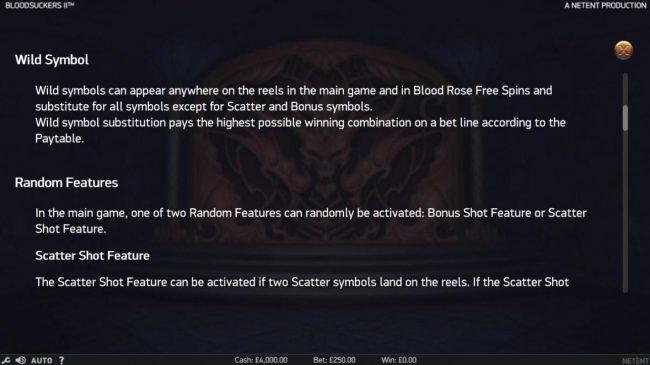 Blood Suckers II :: Wild Symbol Rules