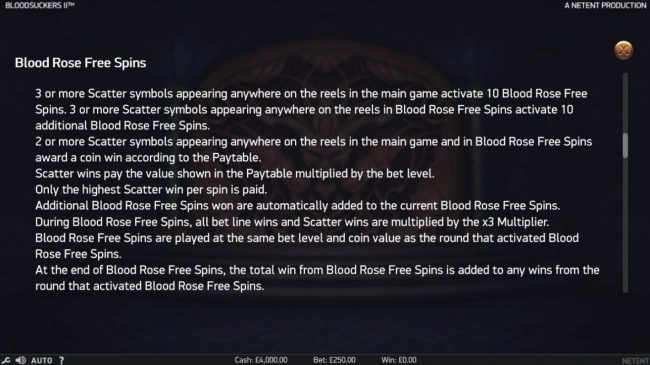 Blood Suckers II :: Blood Rose Free Spins Rules