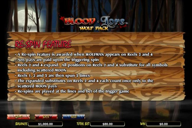 Re-Spin Feature Rules - A re-spin feature is awarded when WOLFMAN appears on reels 2 and 4. Reels 2 and 4 expand.
