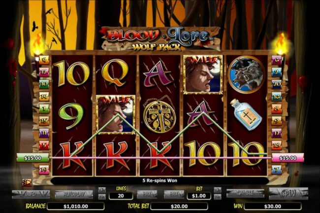 Vegas Winner featuring the Video Slots Blood Lore Wolf Pack with a maximum payout of $20,000