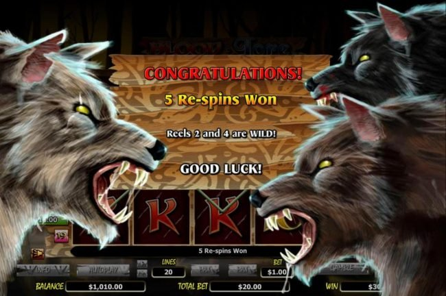 Energy featuring the Video Slots Blood Lore Wolf Pack with a maximum payout of $20,000