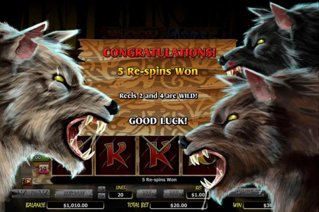 Slotty Vegas featuring the Video Slots Blood Lore Wolf Pack with a maximum payout of $20,000
