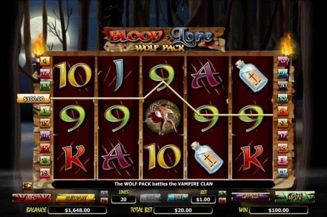 EU Casino featuring the Video Slots Blood Lore Wolf Pack with a maximum payout of $20,000