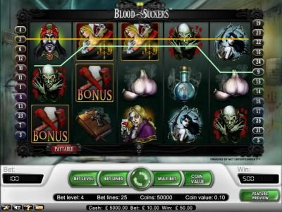 Chomp featuring the Video Slots Blood Suckers with a maximum payout of $15,000