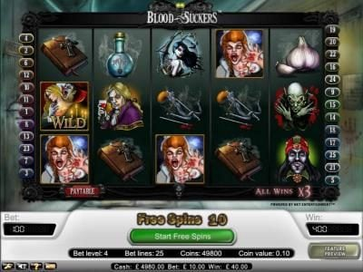 Vbet Casino featuring the Video Slots Blood Suckers with a maximum payout of $15,000