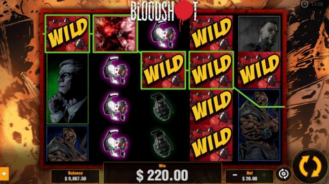 Viggoslots featuring the Video Slots Bloodshot with a maximum payout of $1,250