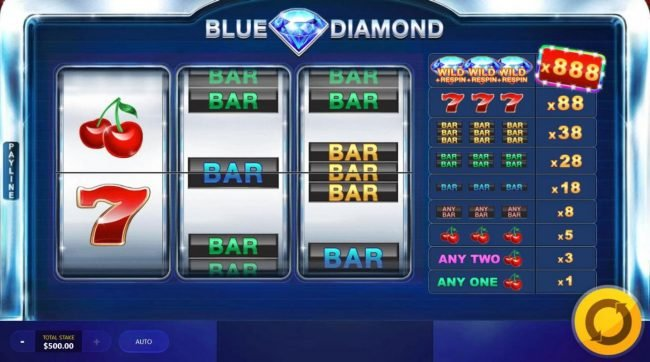 Blue Diamond :: Main game board featuring three reels and 1 payline with a $440,000 max payout.