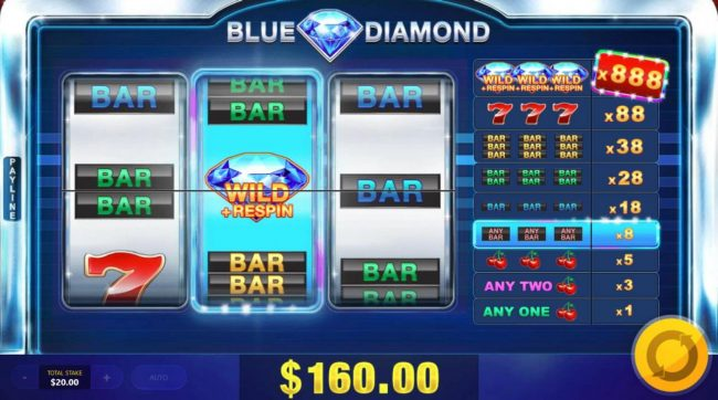 Shadowbet featuring the Video Slots Blue Diamond with a maximum payout of $440,000