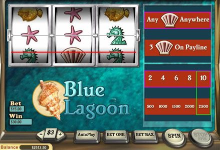 Liberty Slots featuring the Video Slots Blue Lagoon with a maximum payout of $25,000