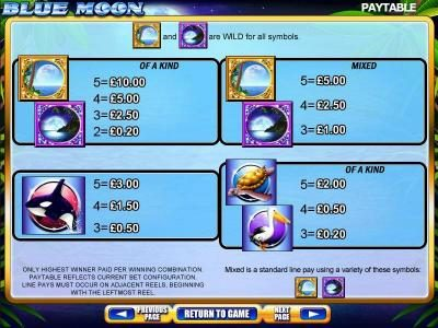 Blue Moon :: Slot Game Symbols Paytable - Only highest winner paid per winning combination. Paytable reflects current bet configuration. Line pays must occur on adjacent reels, beginning with the leftmost reel.
