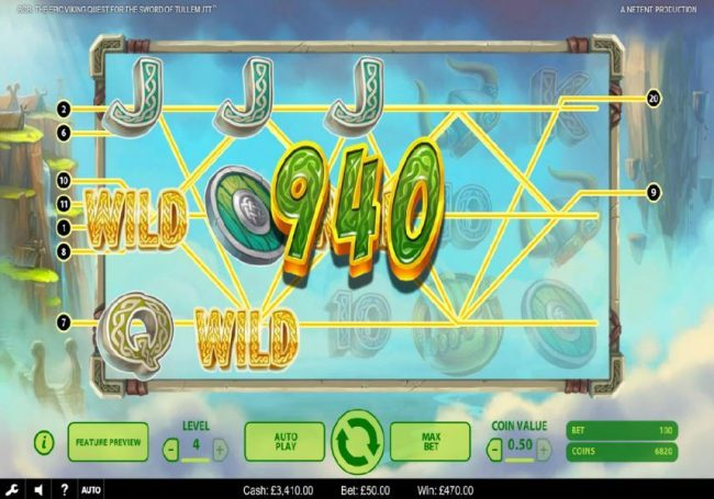 Wild Wild Bet featuring the Video Slots Bob The Epic Viking Quest for the Sword of Tullemutt with a maximum payout of $203,000