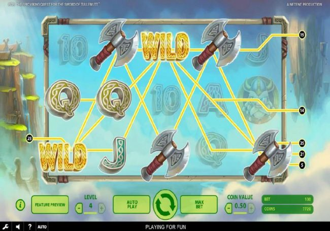 Betting Ways featuring the Video Slots Bob The Epic Viking Quest for the Sword of Tullemutt with a maximum payout of $203,000