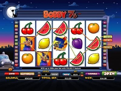 Cosmik featuring the Video Slots Bobby 7s with a maximum payout of $200