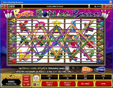 Vegas Slot featuring the Video Slots Bob's Bowling Bonanza with a maximum payout of $500,000