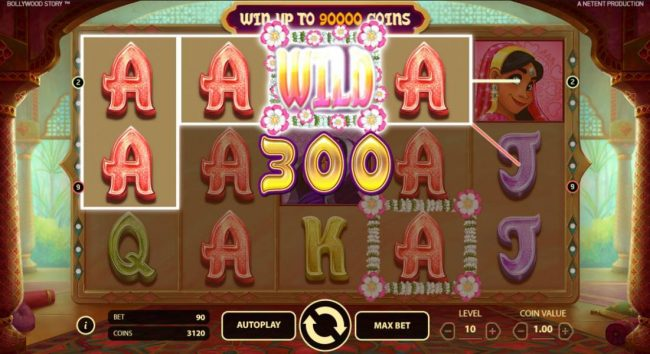 Casino Red Kings featuring the Video Slots Bollywood Story with a maximum payout of $900,000