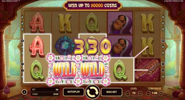 NordiCasino featuring the Video Slots Bollywood Story with a maximum payout of $900,000