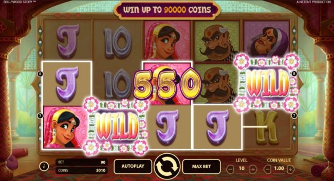 Reel Vegas featuring the Video Slots Bollywood Story with a maximum payout of $900,000