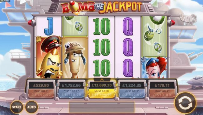 A military aircraft themed main game board featuring five reels and 20 paylines with five progressive jackpots max payout