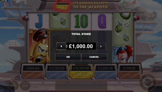 Click on the Stake button and select a betting range that suits your player level.