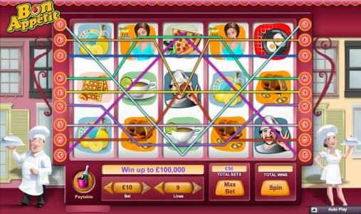 Main game board featuring five reels and 9 paylines with a $100,000 max payout