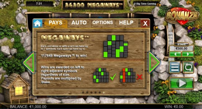 Casino-X featuring the Video Slots Bonanza Megaways with a maximum payout of $25,000