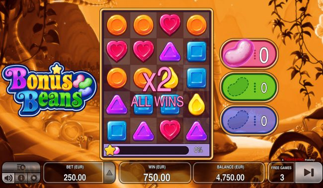 Yoyo featuring the Video Slots Bonus Beans with a maximum payout of $125,000
