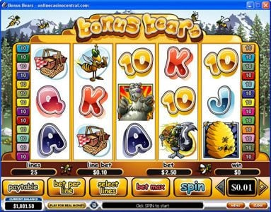 King Solomons featuring the Video Slots Bonus Bears with a maximum payout of $250,000