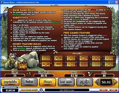 BGO Vegas featuring the Video Slots Bonus Bears with a maximum payout of $250,000