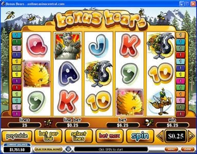 AC Casino featuring the Video Slots Bonus Bears with a maximum payout of $250,000
