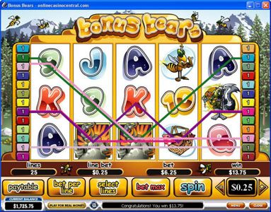 City Club Casino featuring the Video Slots Bonus Bears with a maximum payout of $250,000