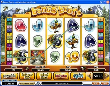Winner Online featuring the Video Slots Bonus Bears with a maximum payout of $250,000