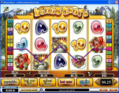 Giant Vegas featuring the Video Slots Bonus Bears with a maximum payout of $250,000