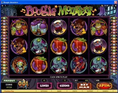 Lucky Nugget featuring the Video Slots Boogie Monsters with a maximum payout of $120,000